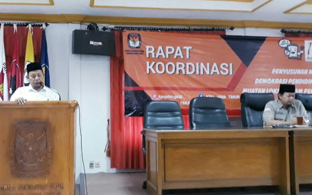 Persiapan Bimtek Relawan Demokrasi, KPU Magetan Hadiri Rakor Provinsi