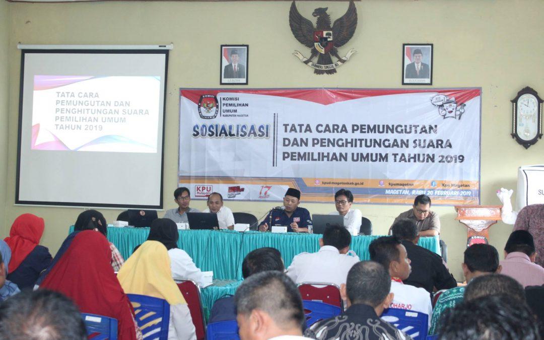 KPU Magetan Mensosialisasikan Tata Cara Pemungutan dan Penghitungan Suara Pemilu 2019