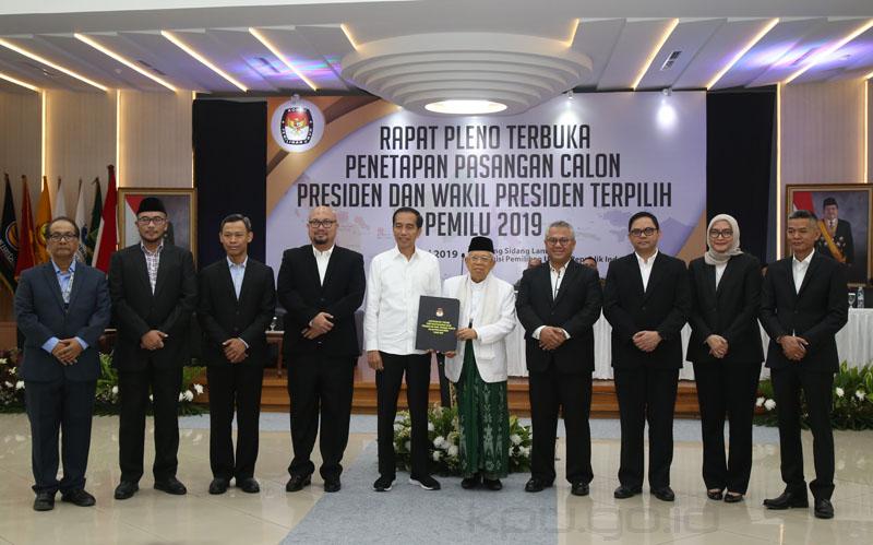 KPU Tetapkan Jokowi-Ma'ruf Presiden dan Wakil Calon Presiden Terpilih Pemilu 2019