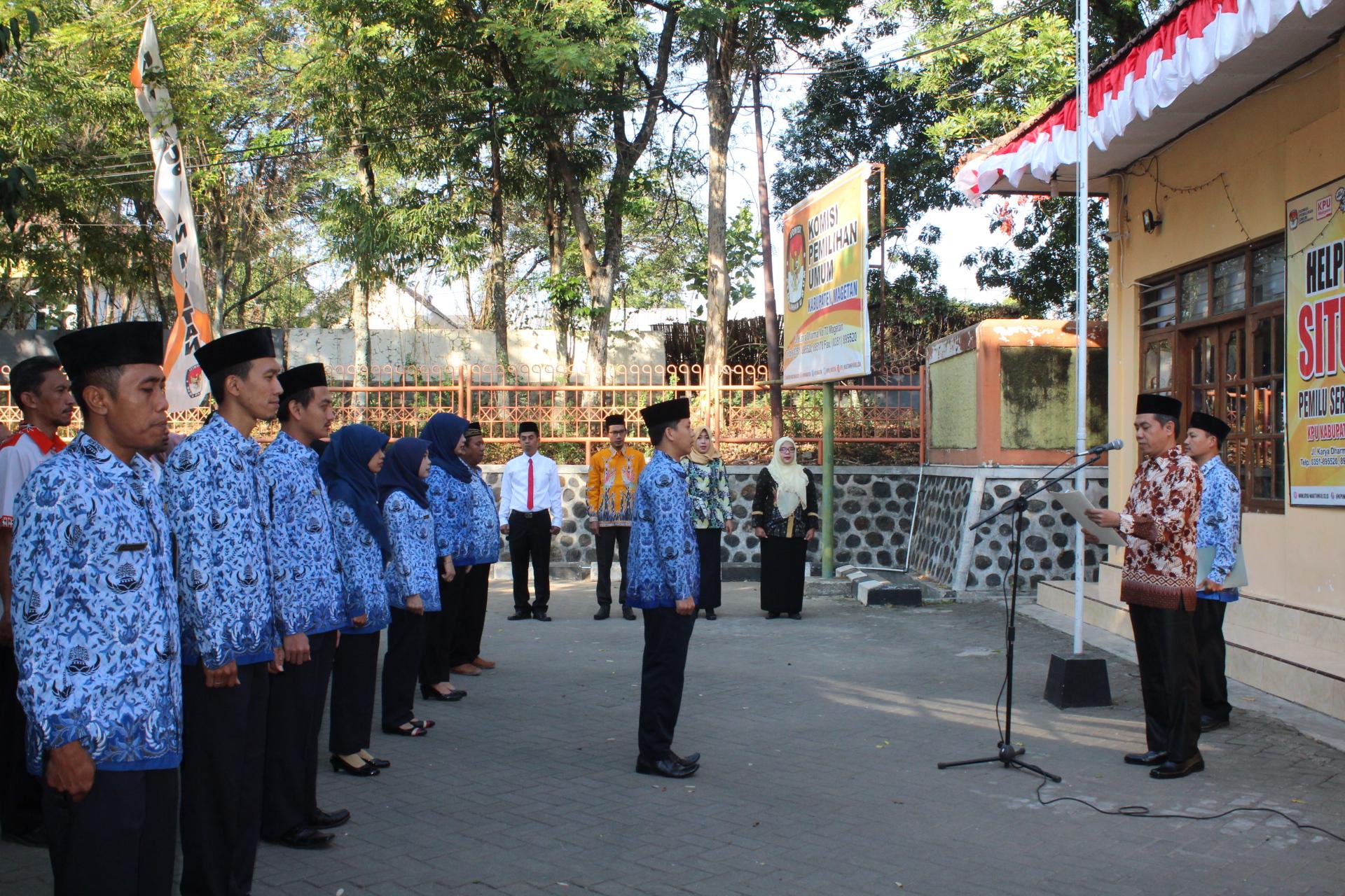 Peringati HUT Kemerdekaan ke-74 RI KPU Magetan Mengusung Tekad SDM Unggul, Indonesia Maju